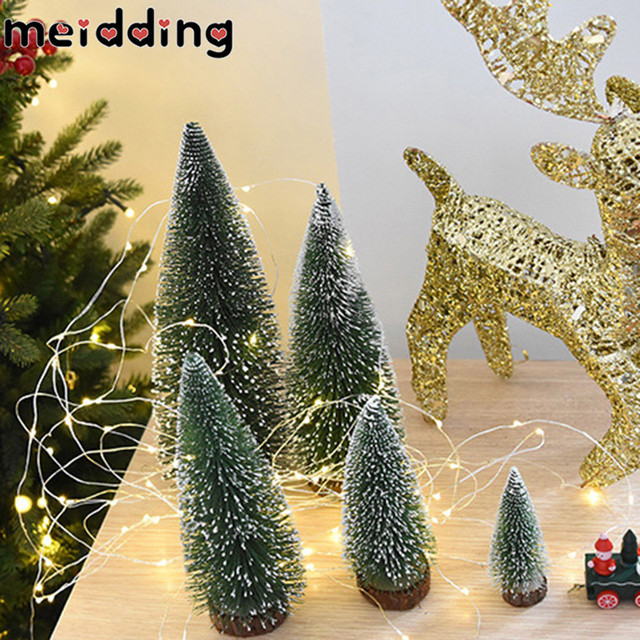 MEIDDING 1pcs Christmas Party Decorations Mini Snow Tree Festival Gift Office Desk Pendant Xmas Table
