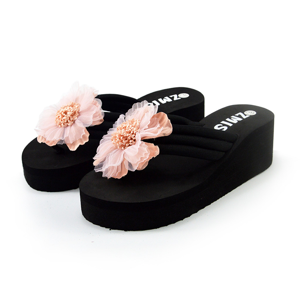 Women Sandal Wedges Sandals Ladies Summer Flowers Home Beach Shoes Flip Flops Slippers Breathable Comfort Shoes Sandalias Mujer in High Heels from Shoes