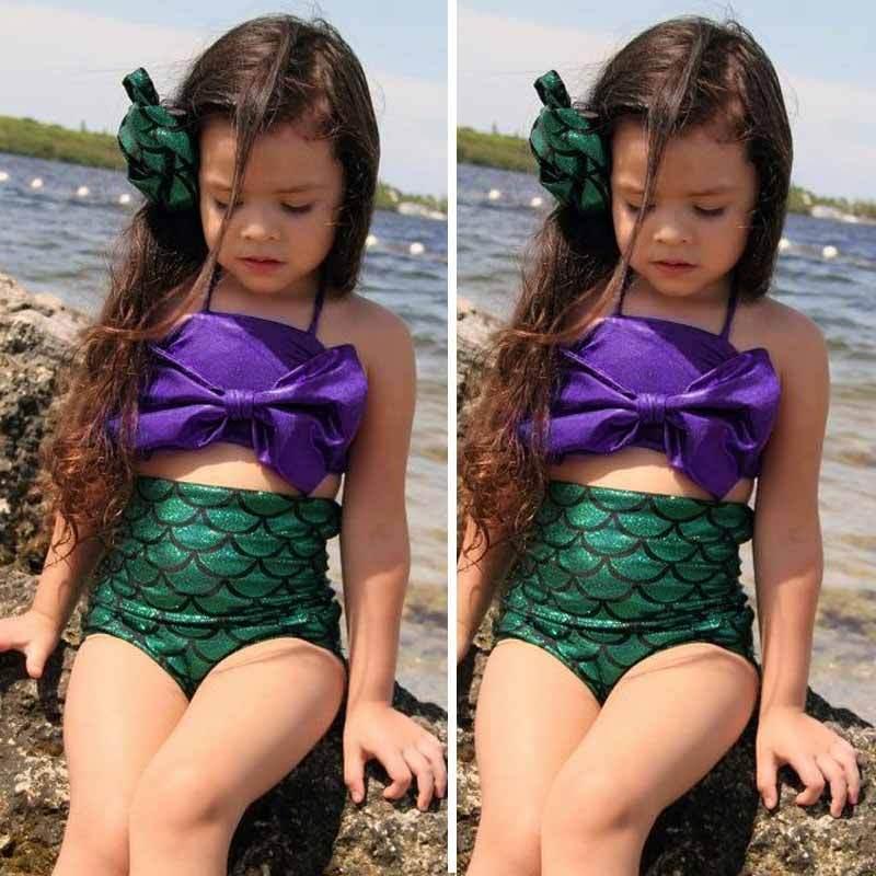 Купальный костюм русалки для девочек; комплект из 2 предметов; наборы Бикини Лето; милый купальник с фиолетовым бантом; Детский костюм; пляжн... 13
