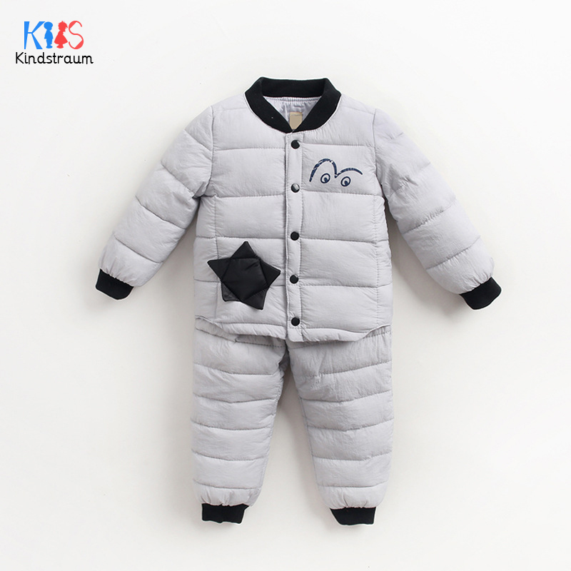 2016 winter boy s cotton cartoon monkey plus thick velvet three piece clothing suit children comfortable and warmth set Kindstraum 2017 Winter Children Cartoon Clothing Suit Boys $ Girls Thick Coat + Trousers Causal Cotton Sets for Kids,RC1585