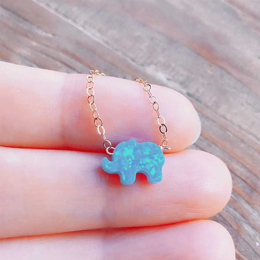 Sorte Opala Elefante Colar De Corrente de Prata de Ouro Para As Mulheres Gargantilha colar Chocker Colares collier femme collane ketting
