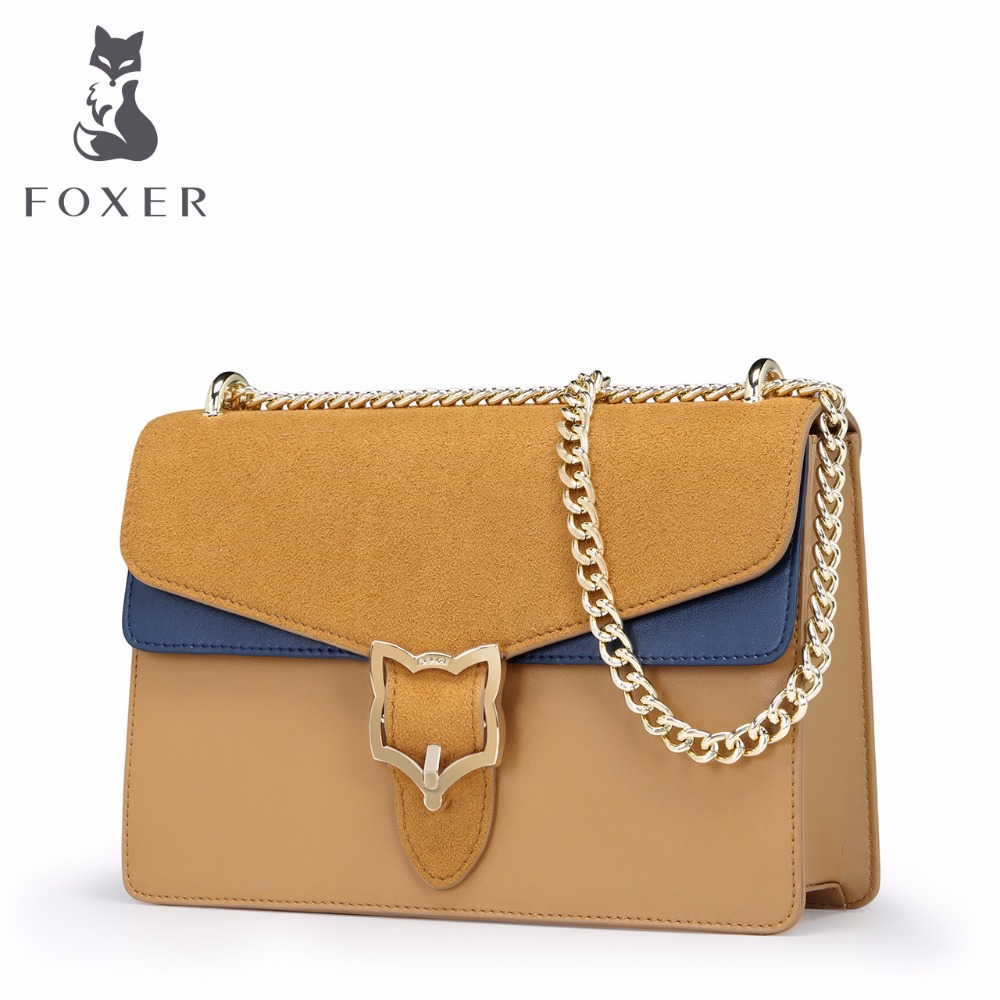 FOXER Women Leather Luxury Handbag Ladies Crossbody Small Chain Shoulder Bag Designer Lovely Beach Girls Clutch Vintage Bags