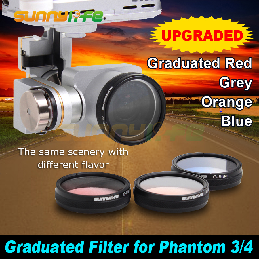 Sunnylife DJI Phantom 4/ 3 Advanced/ Professional/ Standard Camera Polarized Filters Graduated Filters Grey/ Red/ Orange/ Blue