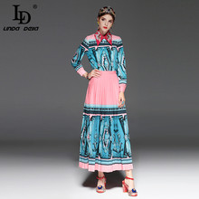 LD LINDA DELLA Runway Fashion Two-Pieces Suit Women's clothing Skirts Set Long Sleeve Print Blouse and Pleated Dress Suit