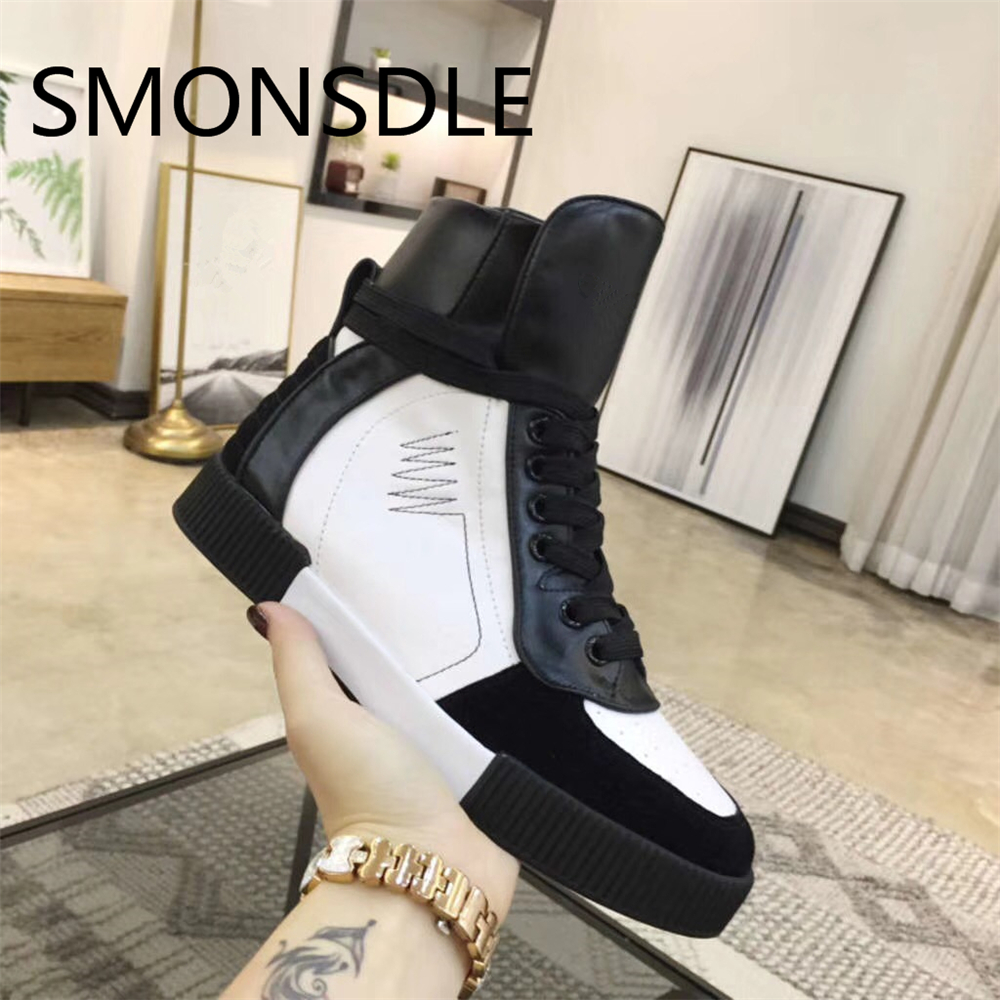 SMONSDLE Spring Autumn New Designer Women Boots Comfortable Casual Flat Boots Lace Up Real Leather Women Ankle Boots Shoes Woman real pic high color decorative rivets women casual shoes brand designer lace up comfortable women flats shoes woman
