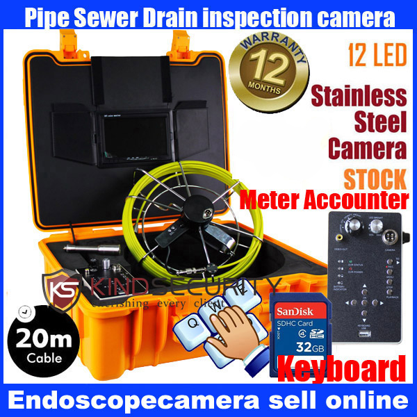 20M waterproof meter accounter Snake UnderWater Sewer Drain Pipe Wall Inspection keyboard recorder camera 20m cable fiber glass 7 tft lcd waterproof pipe sewer inspection camera ccd600tvl with meter accounter endoscope snake camera