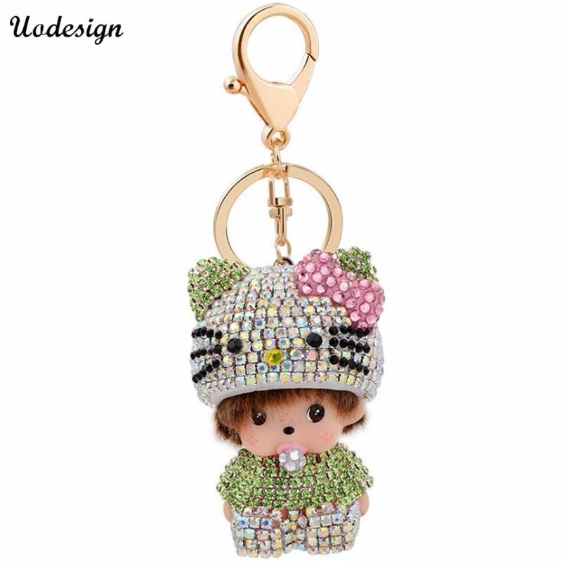 Vente chaude Monchichi clé chaîne pendentif Strass sac accessoires de  voiture porte-clés cadeau De Noël 3a989294aa3