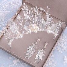 Jewelrys-Set Hair-Accessories Crown Earrings Wedding Flower-Leaf Crystal Pearl Bride