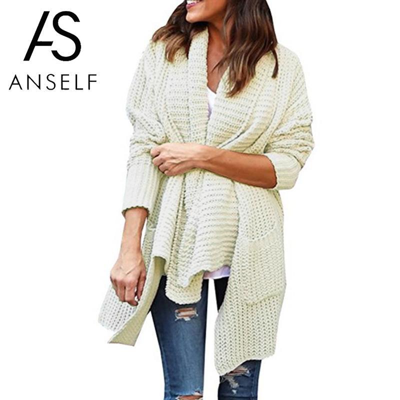 ecf883e052 2019 Anself Women Casual Knitted Long Cardigan Open Front Long ...