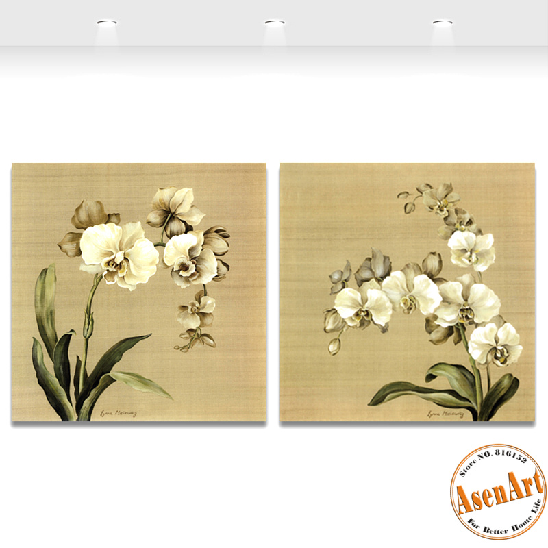 2 PCS Butterfly Orchid White Flower Canvas Painting for Living Room ...