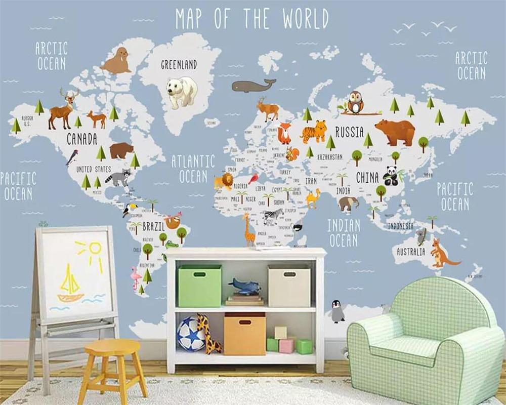 Baby Slaapkamer Te Koop.Beste Koop Beibehang Behang Cartoon Wereldkaart Kinderen Kamer