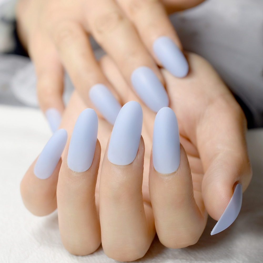 24pcs Sky Blue Acrylic Nail Art Tips Easy DIY Long Oval Artificial ...