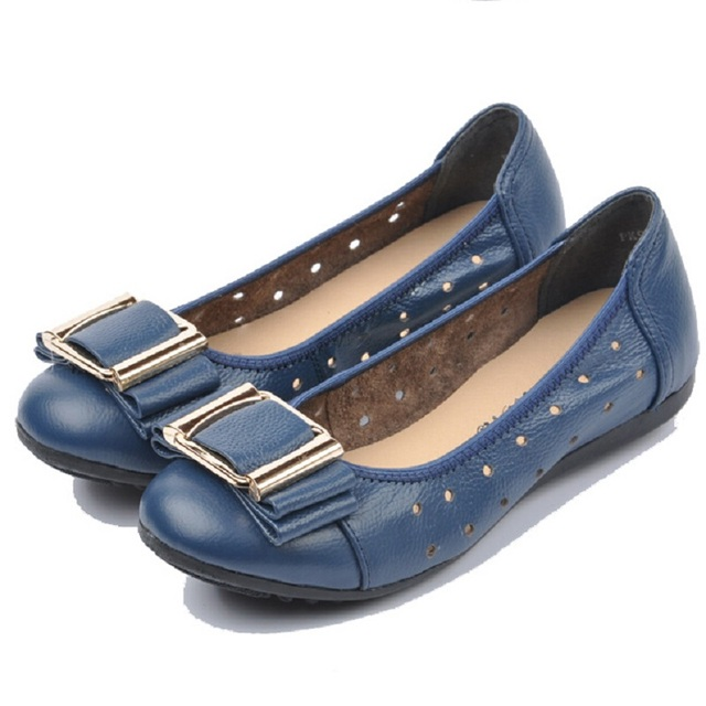 High Quality Genuine Leather Ballerina Flats Shoes For Women Metal Decoration Hollow Causal Shoes Fashion Women Loafers US 10.5