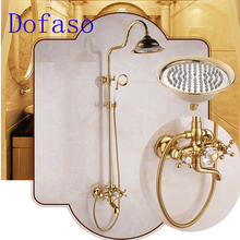 Dofaso beautiful brass gold shower faucet 8'' golden head shower gold rainfall shower mixer taps стоимость