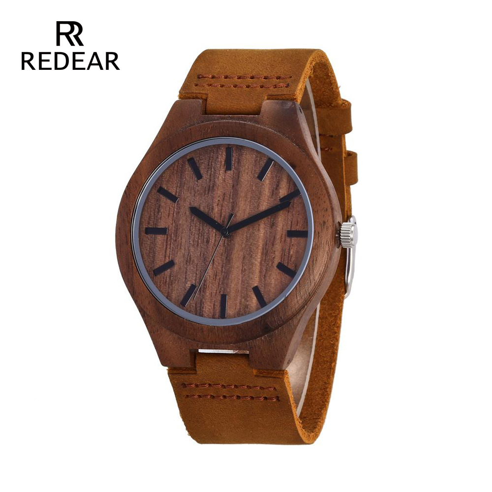 REDEAR Mens Design Brand Luxury Walnut Relojes de madera Real Leather - Relojes para mujeres