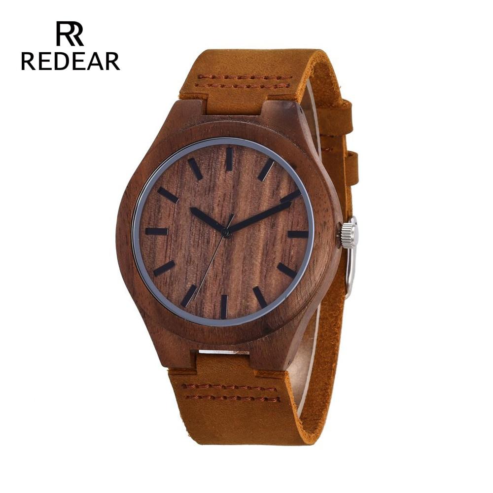 REDEAR Mens Design Brand Luxury Walnut Relojes de madera Real Leather - Relojes para mujeres
