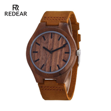 REDEAR Mens Design Brand Luxury Walnut Relojes de madera Real Leather Quartz Watch para Hombres