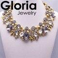 Dinero caliente frijoles de oro de flores de cristal gema declaración colgante collar ZA marca moda collar de gargantilla para las mujeres 2014
