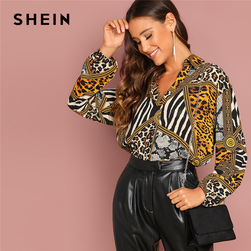 SHEIN Going Out Multicolor Ornate Print Collar Long Sleeve   Shirt   Pullovers Top Autumn Modern Lady Women Tops And   Blouses