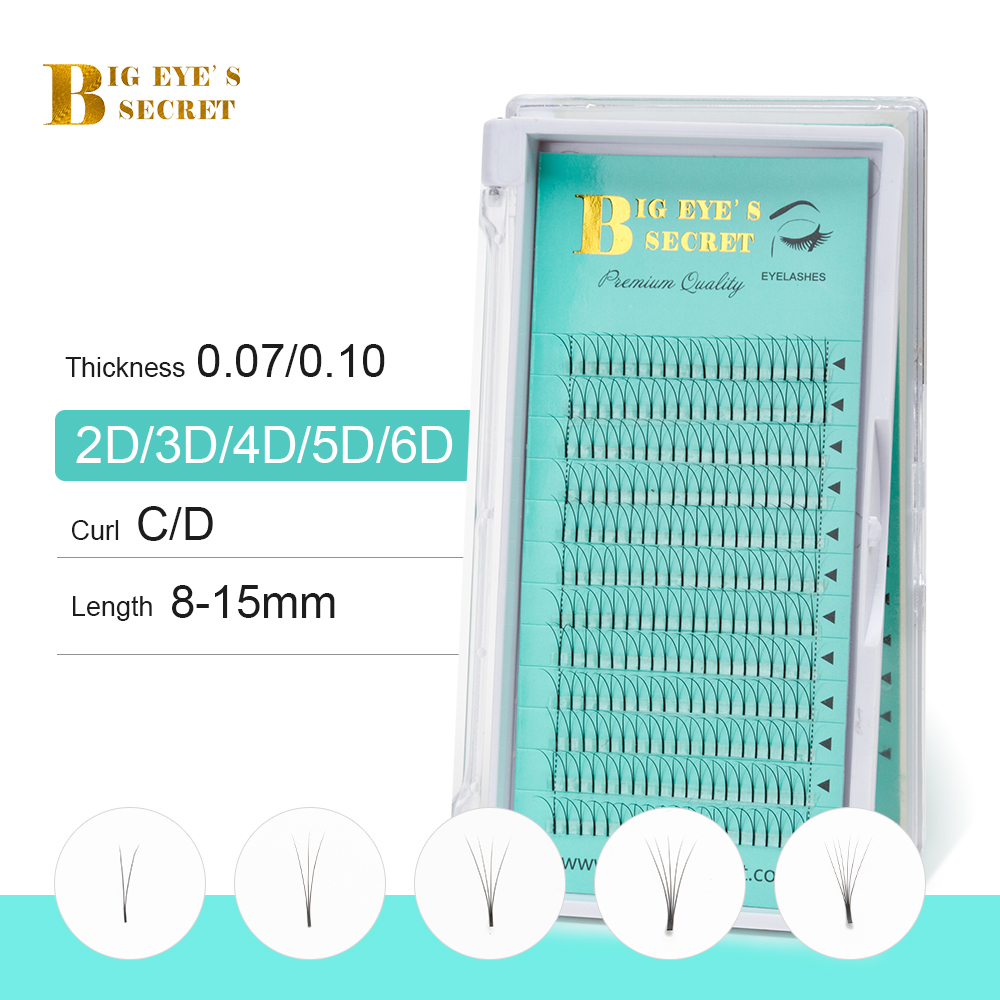 BES Heat Bonded Premade Fans Long Stem Russian Volume Lash Extension 1 Tray 12 Rows Individual Eyelashes Extension Fans 2D 7D in False Eyelashes from Beauty Health