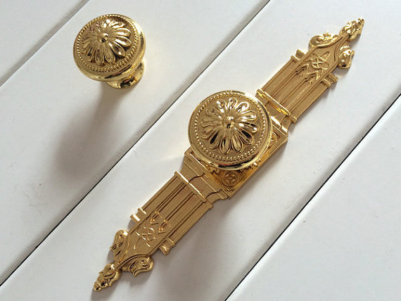 Gold Dresser Knobs Drawer Pullsl Handles Back Plate