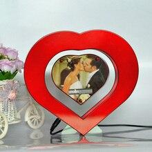 Red Heart Shaped Floating Photo Frame LED Light Magnetic Levitation Pictures Frame Wedding Decoration Novelty Gift 2017 New