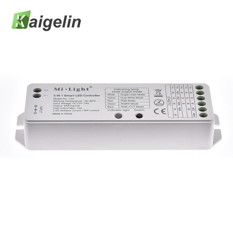 5-In-1 Milight LED Controller 12V 24V DC Power Supply LS2 LED RGB Controller For LED Strip Light Wireless 2.4G Wireless Control good group diy kit led display include p8 smd3in1 30pcs led modules 1 pcs rgb led controller 4 pcs led power supply
