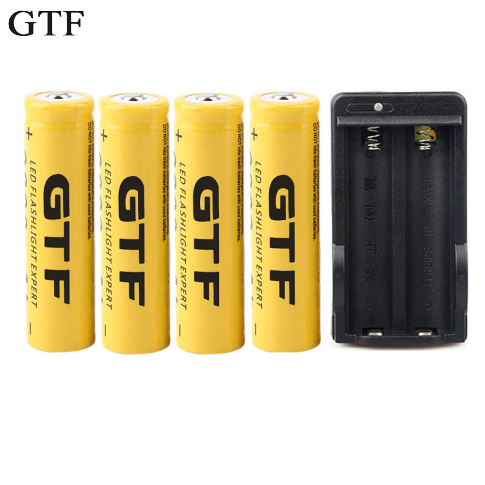 GTF 18650 Battery Rechargeable Battery 3.7V 18650 9800mAh Li-ion Battery For Flashlight with EU US Charger For 18650 Battery 2017 liitokala new original 18650 3400mah battery rechargeable li ion ncr18650b 3 7v 3400 battery