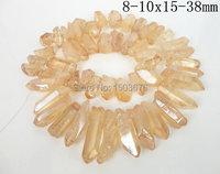 Approx 48pcs Strand Of Mystic Titanium Champagne Polished Crystal Quartz Stick Pendant Bead Raw Crystal Top