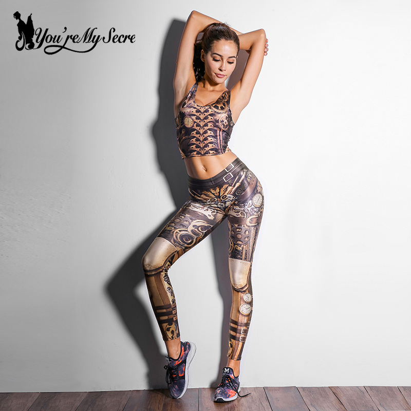 [You're My Secret] 2019 Steampunk Cosplay Women leggings High Quality Mechanical Gear 3D Print Leggins for Women Ankle Pants