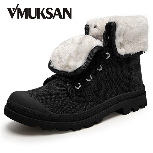 VMUKSAN Зимние мужские Ботинки Моды Холст Пушистый Снег Обувь на Высоком 2016 Новый Военные Сапоги Лодыжки Резиновые Botas Masculina Мужчины обувь