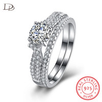 DODO 2 Pieces Sets Rings For Women 925 Sterling Silver Jewelry Brilliant Aaa Zircon Wedding Couple