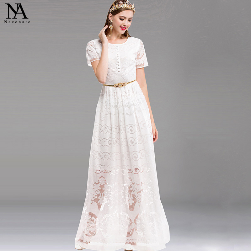 New Arrival 2018 Womens O Neck Short Sleeves Embroidery Lace Maxi Long Runway Dresses with Belt
