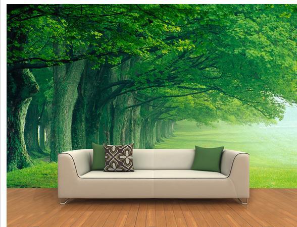 Custom photo wallpaper Large 3D sofa TV background wallpaper mural wall Forest trees 3d mural ...