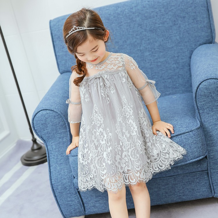 Everweekend Girls Floral Lace Dress Summer Ruffles Princess Party Dress Pink White and Gray Color Fashion Kids Dresses yanmai microphone omnidirectional dynamic condenser sound mic
