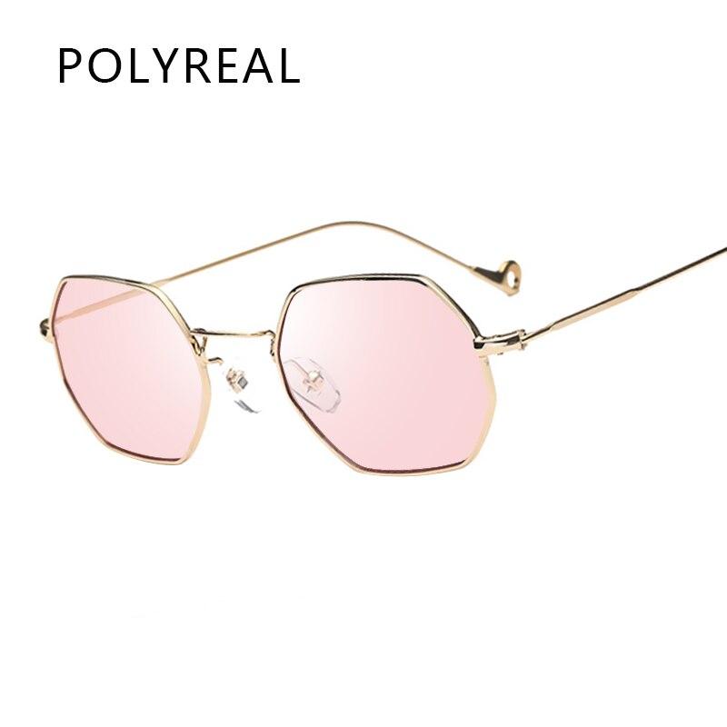 4b95f7162067f5 POLYREAL Mode Hexagonale Octogone lunettes de Soleil Femmes Hommes Marque  Designer Clair Miroir En Métal cadre Polygone Lunettes de Soleil Pour Femme  de la ...