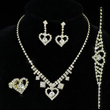Bridal Wedding Party Quality Gold Color Metal Crystal Heart Necklace Bracelet Ring Earrings Set CS1151