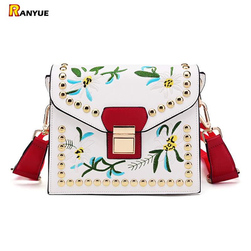 Vintage Rivet Floral Embroidered Handbags Leather Bags Women Purse Ethnic Embroidery Bag Small Shoulder Women Messenger Bags ethnic embroidered black cami dress for women