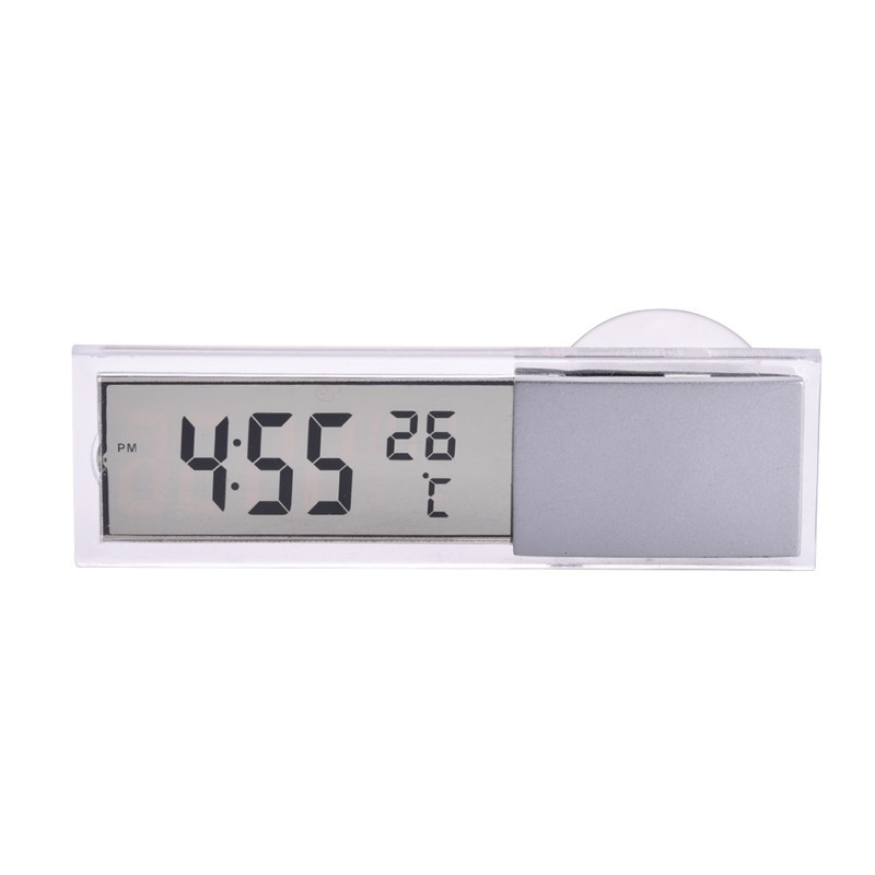 Car Glass Windows Thermometer LCD Car Thermometer Time Clocks