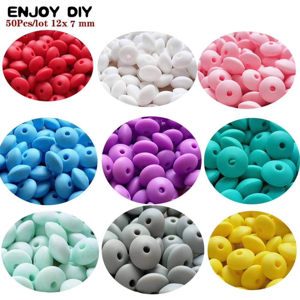 50Pcs Pearl Silicone Lentil Beads 12mm BPA Free Babies Teether Teething Necklace Bracelet DIY Charming Loose Beads Nursing Toys