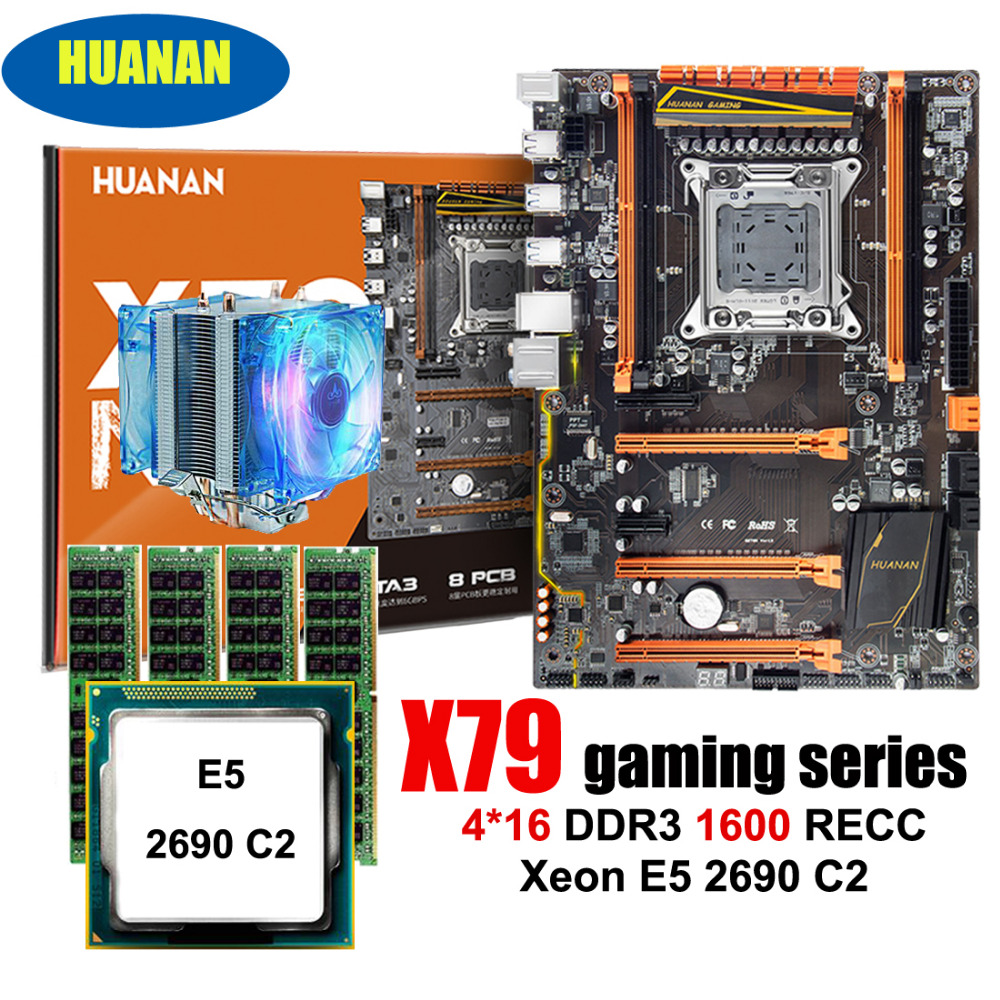Amazing HUANAN ZHI deluxe X79 LGA2011 gaming motherboard with M.2 NVMe CPU Intel Xeon E5 2690 C2 2.9GHz with cooler RAM 64G RECC