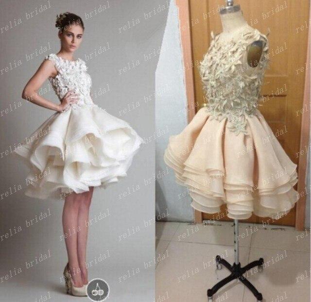 Rami Kadi White Crop Top Prom Dress Short Ball Gown Ruffles Scoop Organza Evening Dresses Vestidos
