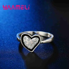 YAAMEILI Sweet Romantic Style Heart CZ Black Rings 925 Sterling Silver Wedding Engagement Jewelry Accessory Rings Wholesale(China)
