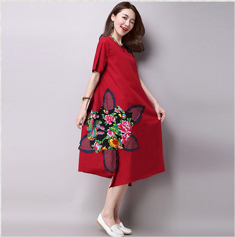 O Neck Linen Cotton Maxi Dresses Women 2016 Plus Size Casual Summer Dress  Vintage Ethnic Styles Patchwork Asymmetric Dress-in Dresses from Women s  Clothing ... f3636a3e7e55
