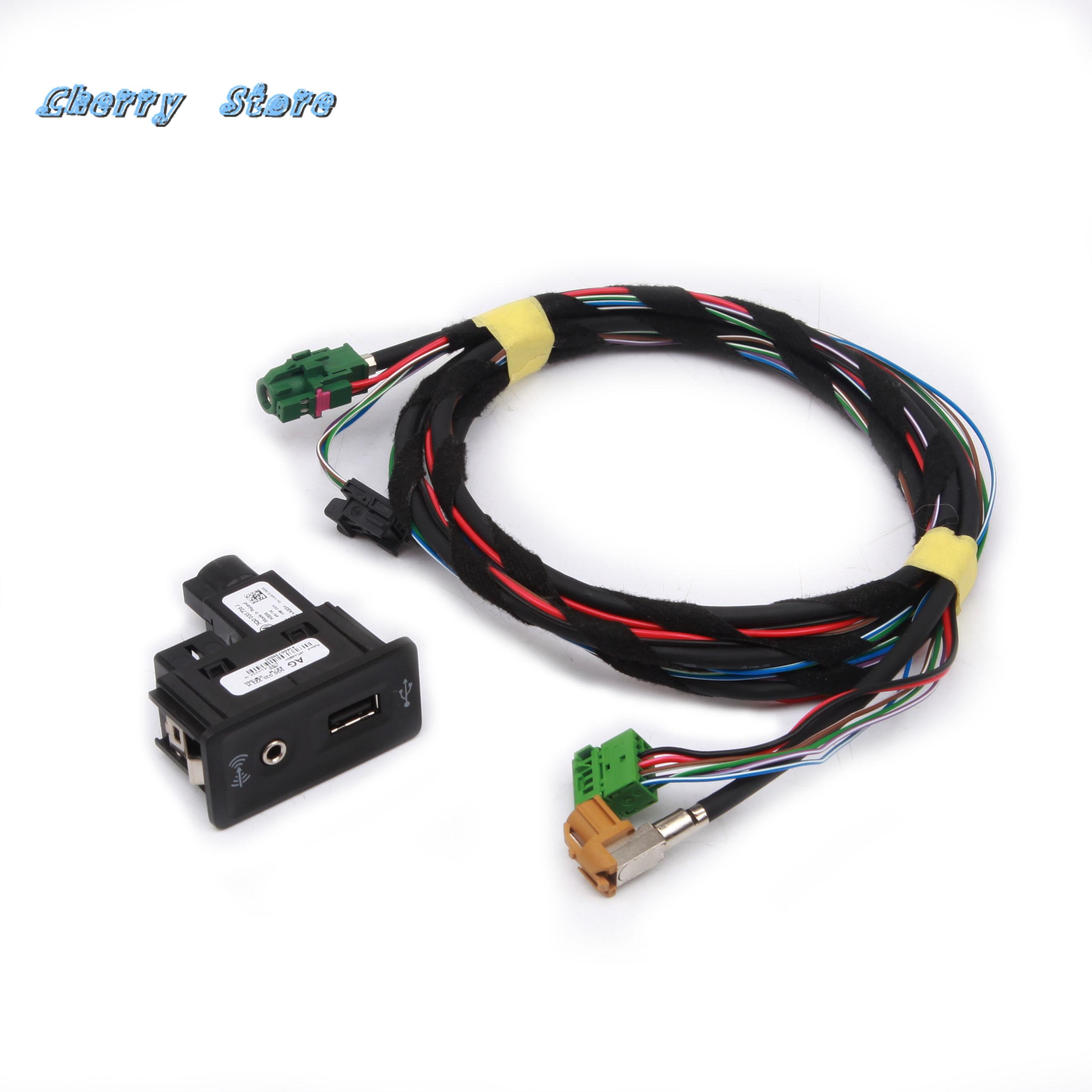 New 5G0 035 222 E Switch And Harness Set CarPlay MDI USB AMI Install Plug Socket For VW CC Golf  Jetta Passat Seat 5Q0 035 726 E