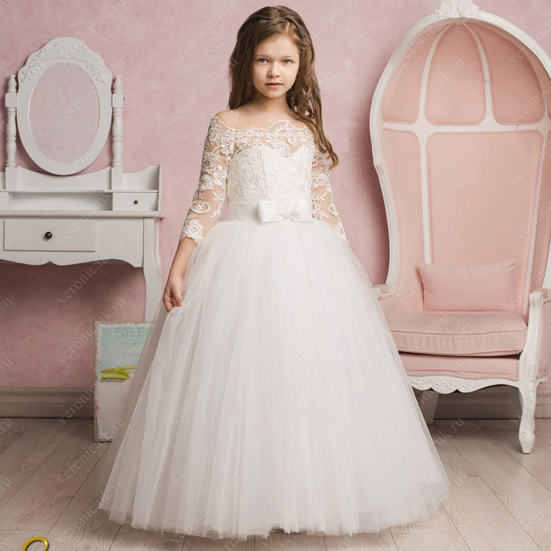 White/Ivory Off Shoulder Lace Flower Girls Dresses for Wedding Three Quarter Sleeves Princess Communion Gown white lace details off shoulder playsuits with belt