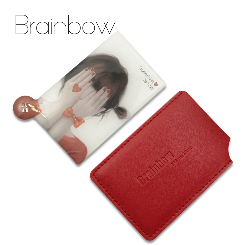 Brainbow 1piece Unbreakable Card Makeup <font><b>Mirrors</b></font> Shatter-Proof Pocket <font><b>Mirror</b></font> Compact Maquillaje Portable and Protective PU Sleeve