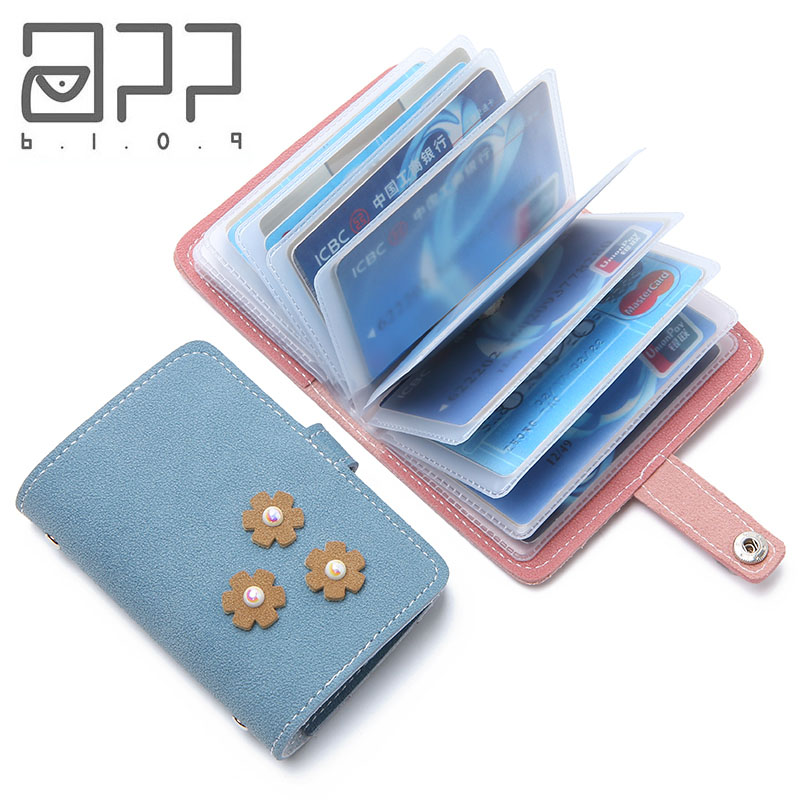 APP BLOG Fashion Flowers Function 24 Bits Business Card Holder Bag Case Women ID Credit Passport Cover Carteira Feminina Female image