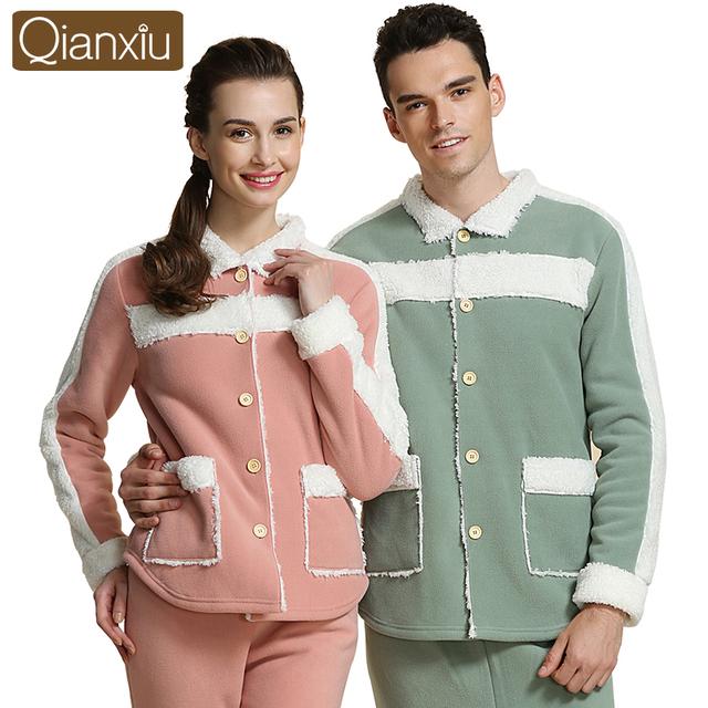Casais marca Conjuntos Pijamas Dos Homens Térmicas de Inverno Engrosse Moda Quente Mulheres Sleepwear Nightwear Roupa Em Casa Salão Tops & Bottoms