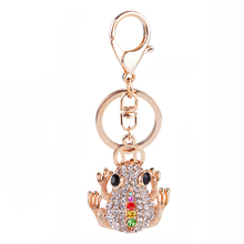 High Quality Gold Color Riches Money Toad Coin Frog Keychain Rhinestone Keyring Creative Jewelry